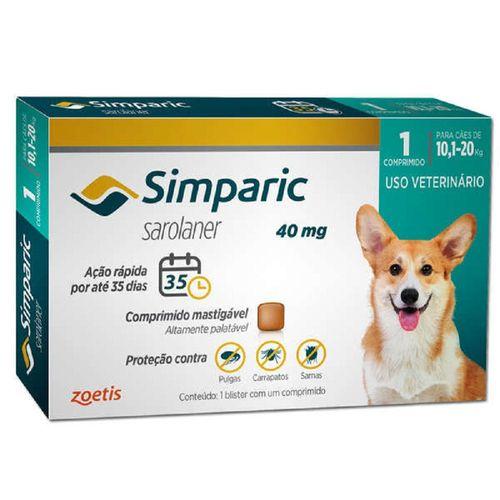 Antipulga Simparic para Cães de 10,1 a 20Kg - 40mg