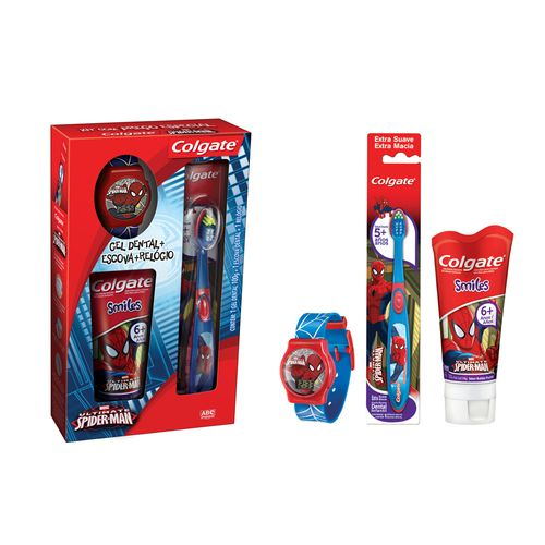 Gel Dental Infantil Colgate Smiles Homem Aranha 6 100g Escova Dental 5 Relógio