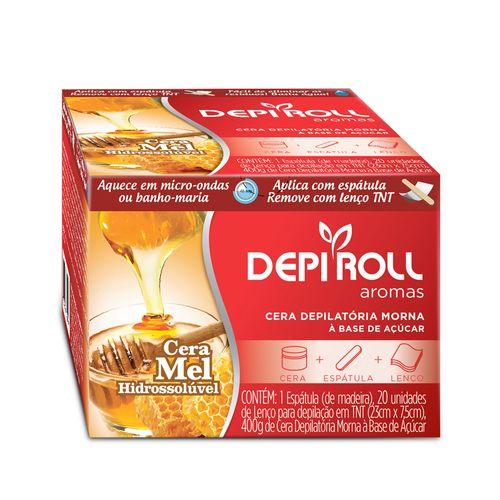 Cera-para-Depilacao-Depi-Roll-Mel-Hidrossoluvel-400g-Espatula-Lencos-TNT
