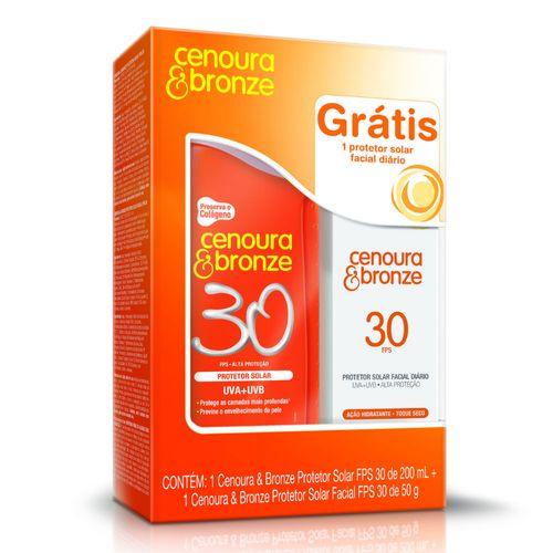 Kit-Protetor-Solar-Cenoura-Bronze-FPS-30-200ml-Protetor-Solar-Facial-Cenoura-Bronze-FPS-30-50g-Drogaria-SP-477346