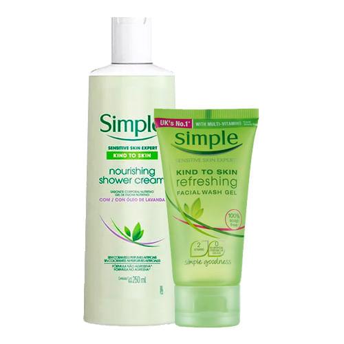 Kit-Simple-Sabonete-Liquido-Corporal-Nourishing-Shower-Cream-250ml---Sabonete-Facial-50ml-Drogaria-SP-9137390