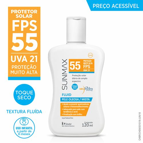 23cd9087937ff Protetor Solar Sunmax Fluido Pele Oleosa-Mista Fps 55 Stiefel 120ml ...