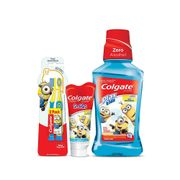 Kit-Colgate-Minions-Escova-Dental-2-Unidades--Enxaguante-Bucal-Plax-Kids-250ml--Gel-Dental-100g-Drogaria-SP-935127326