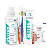Kit-Elmex-Sensitive-Enxaguante-Bucal-400ml--Creme-Dental-110g--Escova-Dental-Ultra-Soft-1-Unidade--Fio-Dental-30ml-Drogaria-SP-935127321