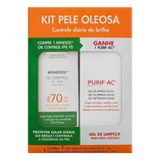 Kit Roc Minesol Protetor Solar Facial Toque Seco FPS 70 50g + Gel de Limpeza PURIF-AC 80ml
