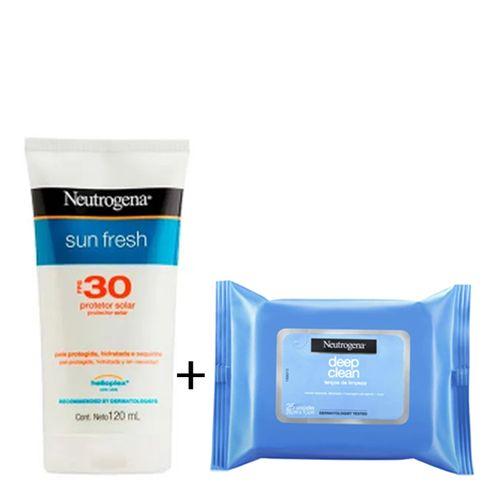 Protetor Solar Neutrogena Sun Fresh FPS 30 120ml + Lenço Demaquilante Deep Clean Grátis