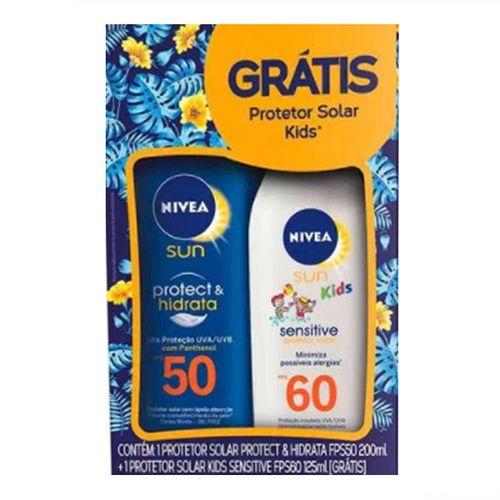 Kit Nivea Protetor Solar Protect & Hidrata FPS50 200ml + Kids Sensitive FPS60 125ml