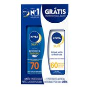 Kit Protetor Solar Corporal Nivea FPS70 200ml + Facial FPS60 50ml