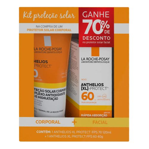 Kit La Roche Posay Protetor Solar Corporal Anthelios XL Protect FPS70 120ml + Protetor Solar Facial FPS60 40g