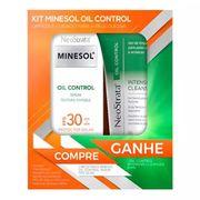Kit Roc Minesol Oil Control Protetor Solar Facial Sérum Antioxidante FPS30 50g + Gel de Limpeza Intensive Cleanser 60ml