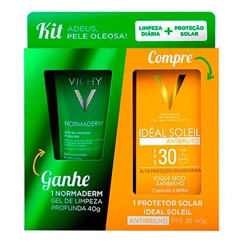 Kit Vichy Protetor Solar Facial Idéal Soleil Antibrilho Toque Seco FPS30 40g + Gel de Limpeza Normaderm 40g