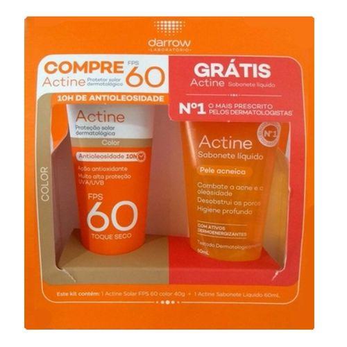 Kit Protetor Solar Facial Darrow Actine FPS60 Color 40g + Sabonete Líquido 60ml