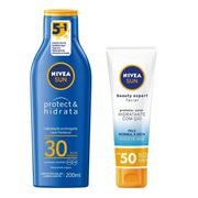 Kit Nivea Protetor Solar Protect&Hidrata FPS30 200ml + Protetor Facial Beatuy Expert FPS50 50g