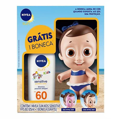 Kit Nivea Protetor Solar Kids Sensitive FPS60 125ml + Boneco Doll Feminino