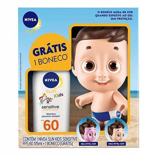 Kit Nivea Protetor Solar Kids Sensitive FPS60 125ml + Boneco Doll Masculino