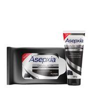 Kit-Esfoliante-Facial-Asepxia-Carvao-Detox-120g---Lencos-Umedecidos-Asepxia-Carvao-Detox-25-Unidades-Drogaria-935128060