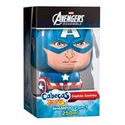Shampoo 2 Em 1 Cabeças Divertidas Avengers Capitão América 250ml