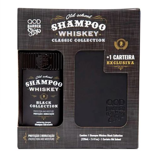 Kit QOD Barber Shop Shampoo Whiskey Black Collection 220ml + 1 Carteira Exclusiva Old School