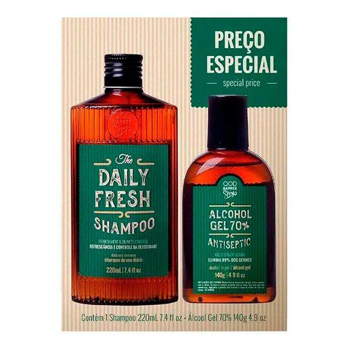 Kit QOD Barber Shop Shampoo Daily Fresh 220ml + Álcool em Gel 70% 140g