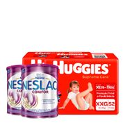 935128334---Kit-Fralda-Huggies-Supreme-Care-XXG-52-Unidades-2-Pacotes---Composto-Lacteo-Nestle-Neslac-Comfor-Lata-800g-2-Unidades