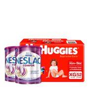 935128336---Kit-Fralda-Huggies-Supreme-Care-XG-52-Unidades-2-Pacotes---Composto-Lacteo-Nestle-Neslac-Comfor-Lata-800g-2-Unidades