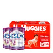 935128335---Kit-Fralda-Huggies-Supreme-Care-G-64-Unidades-2-Pacotes---Composto-Lacteo-Nestle-Neslac-Comfor-Lata-800g-2-Unidades