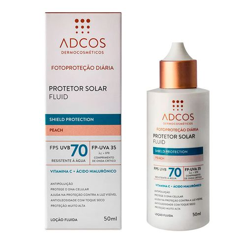 Protetor-Solar-Facial-Adcos-Fluid-Shield-Protection-Peach-FPS70-50ml